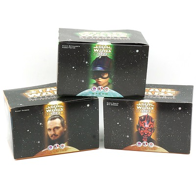 Three 1999 Star Wars Episode I The Phantom Menace Promotional Toys, Including Anakin Skywalker's Naboo Fighter, Planet Tatooine and Darth Mauls Sith Speeder