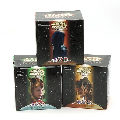 Three 1999 Star Wars Episode I The Phantom Menace Promotional Toys, Including Sith Holoprojector, Sebula's Podracer, Queen Amidal's Hidden Identity