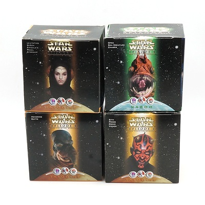 Four 1999 Star Wars Episode I The Phantom Menace Promotional Toys, Including Levitating Queen Amidala's Royal Starship, Sith Probe Droid Viewer