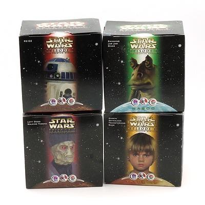 Four 1999 Star Wars Episode I The Phantom Menace Promotional Toys, Including R2-D2, Lott Dodd Walking Throne, Swimming Jar Jar Binks and Anakin Skywalker Transforming Bank