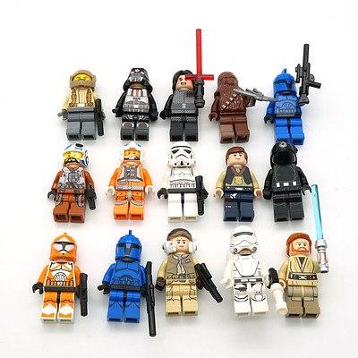 Fifteen Star Wars Lego Figures, Including Obi Wan, Kylo Ren, and More