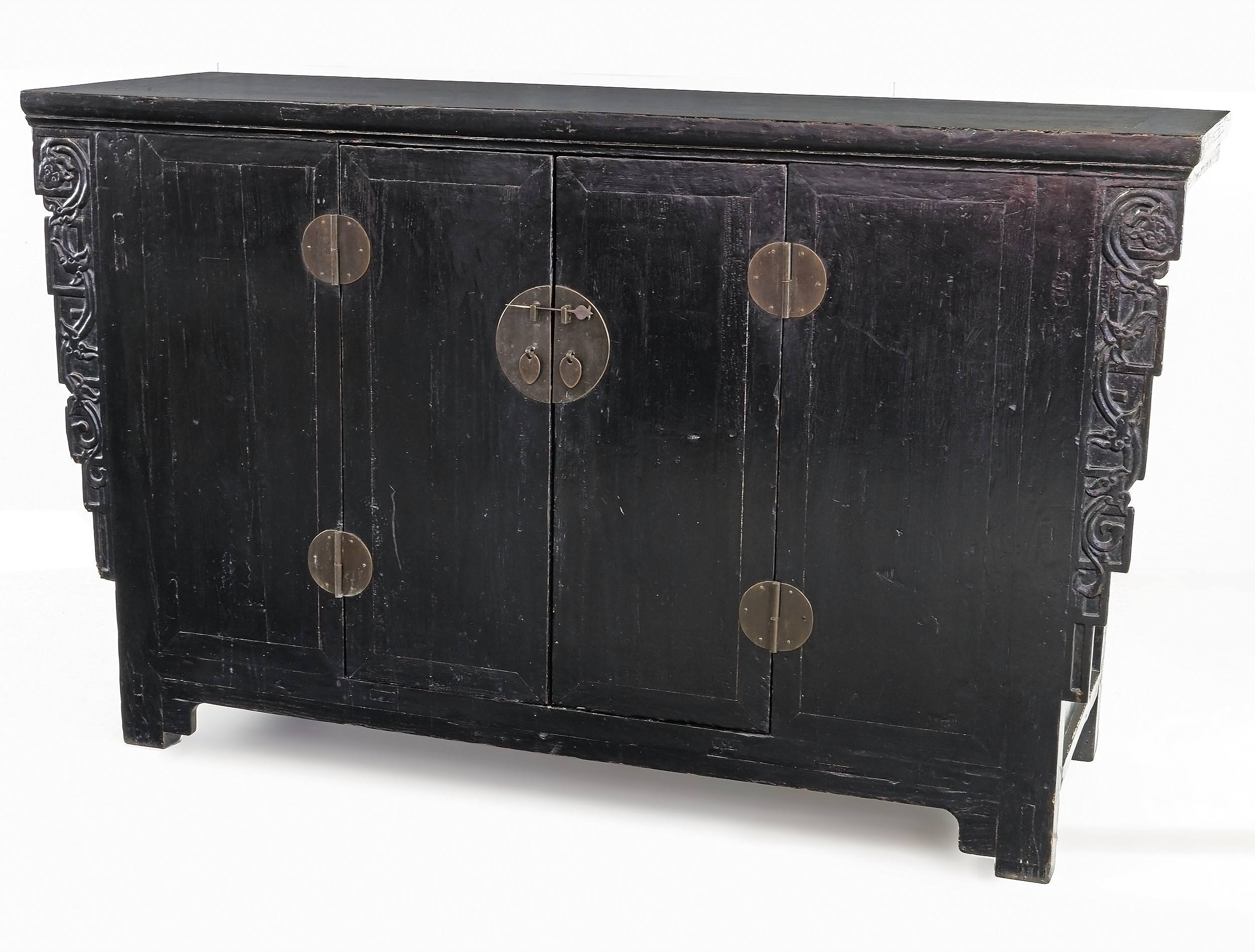 'Chinese Provincial Black Lacquer Northern Elm Cabinet, 19th Century'