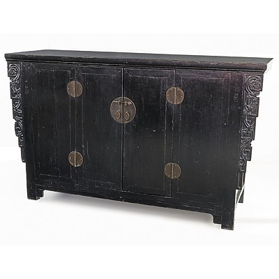 Chinese Provincial Black Lacquer Northern Elm Cabinet, 19th Century