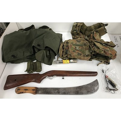 Military Backpack, Vest Rifle Stock and Machete