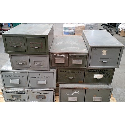 Metal Index Card Cabinets - Lot of Eight
