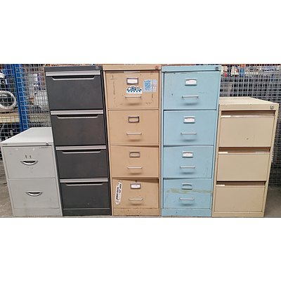 Two, Three Drawer and Four Drawer Filing Cabinets - Lot of Five