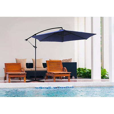 Milano Outdoor 3M Navy Cantilever Umbrella with Full Length Protective Cover