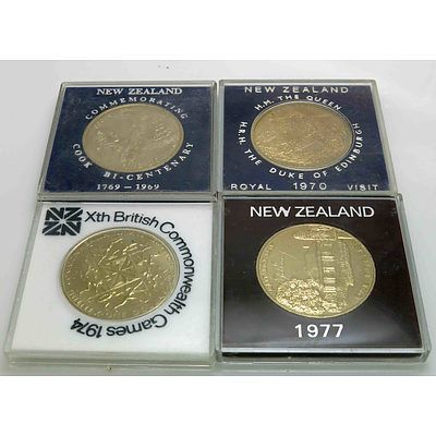 Collection Of Cased NZ Dollars (X4)