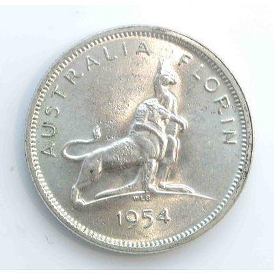 Aust: Silver Florin 1954 Royal Visit