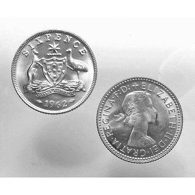 Aust: Silver Sixpences 1962 (X2)