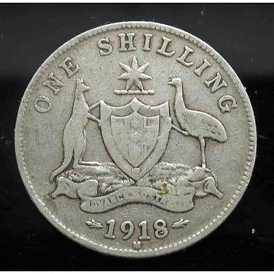Aust: George V 1918 Silver Shilling