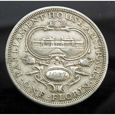 Aust: George V Sterling Silver Florin 1927 Canberra