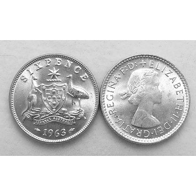 Aust: Silver Sixpences 1963 (X2)