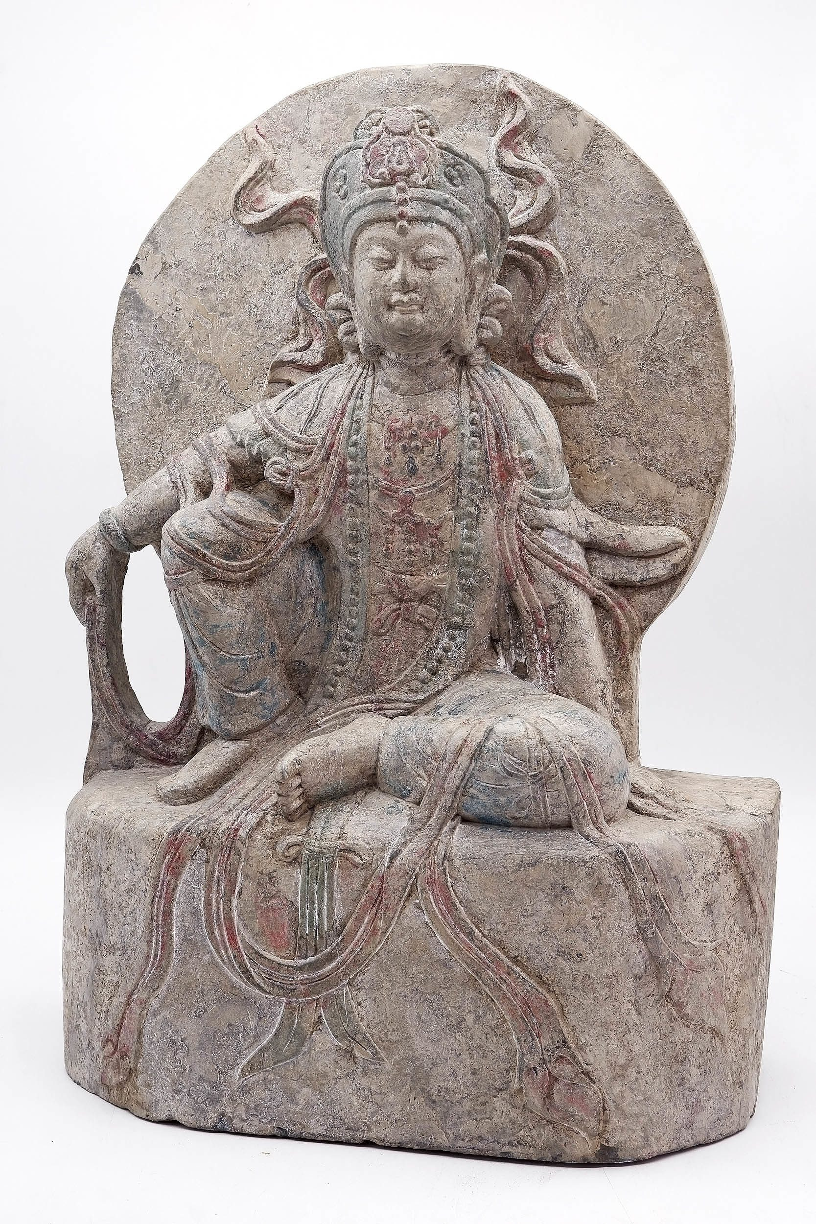 'Chinese Carved Stone Bodhisattva, 20th Century or Earlier'