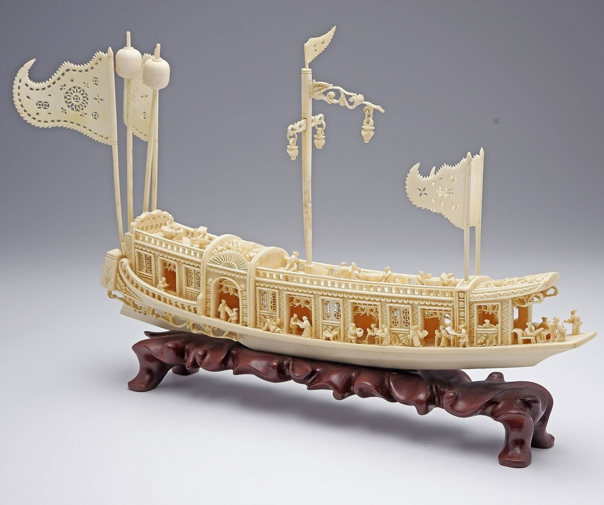 'Superb Finely Carved Chinese Ivory Model of Junk on Hardwood Stand, Mid 20th Century'