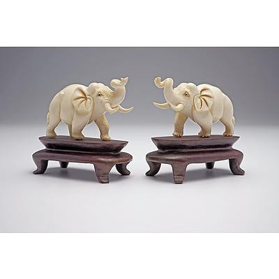 Pair of Chinese Ivory Elephants on Carved Hardwood Stands, Mid 20th Century