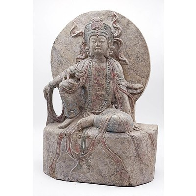 Chinese Carved Stone Bodhisattva, 20th Century or Earlier