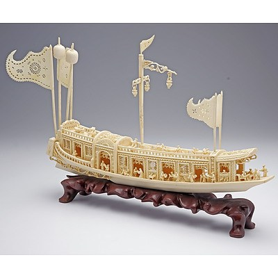 Superb Finely Carved Chinese Ivory Model of Junk on Hardwood Stand, Mid 20th Century