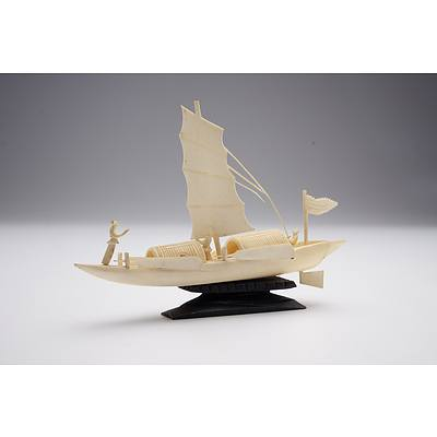 Chinese Carved Ivory Figure of a Boat, Early to Mid 20th Century