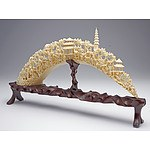 Finely Carved Chinese Marine Ivory (Walrus) Bridge, Mid 20th Century