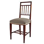Sheraton Revival Upholstered Mahogany Side Chair, Circa 1900