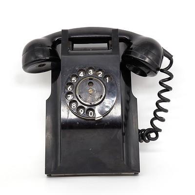Vintage Black Bakelite Wall Mount Phone