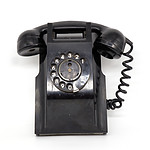 Vintage Black Bakelite Wall Mount Phone