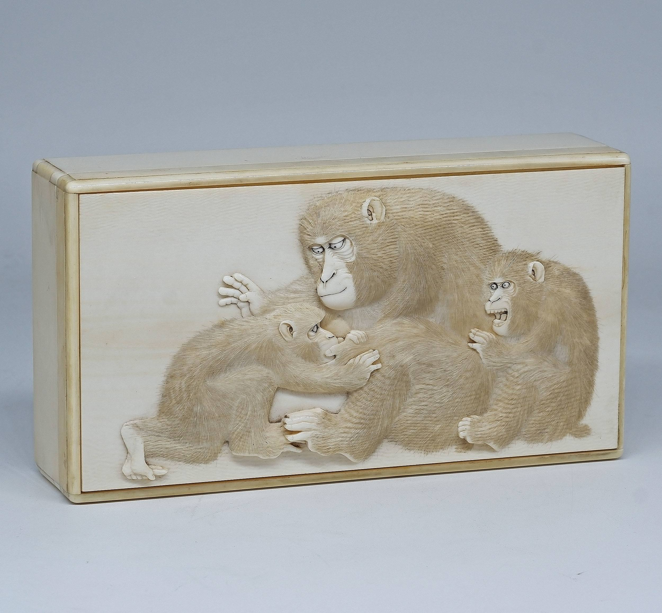 'Superb Japanese Elephant Ivory Box Finely Relief Carved with Monkeys, Meiji Period 1868-1912'