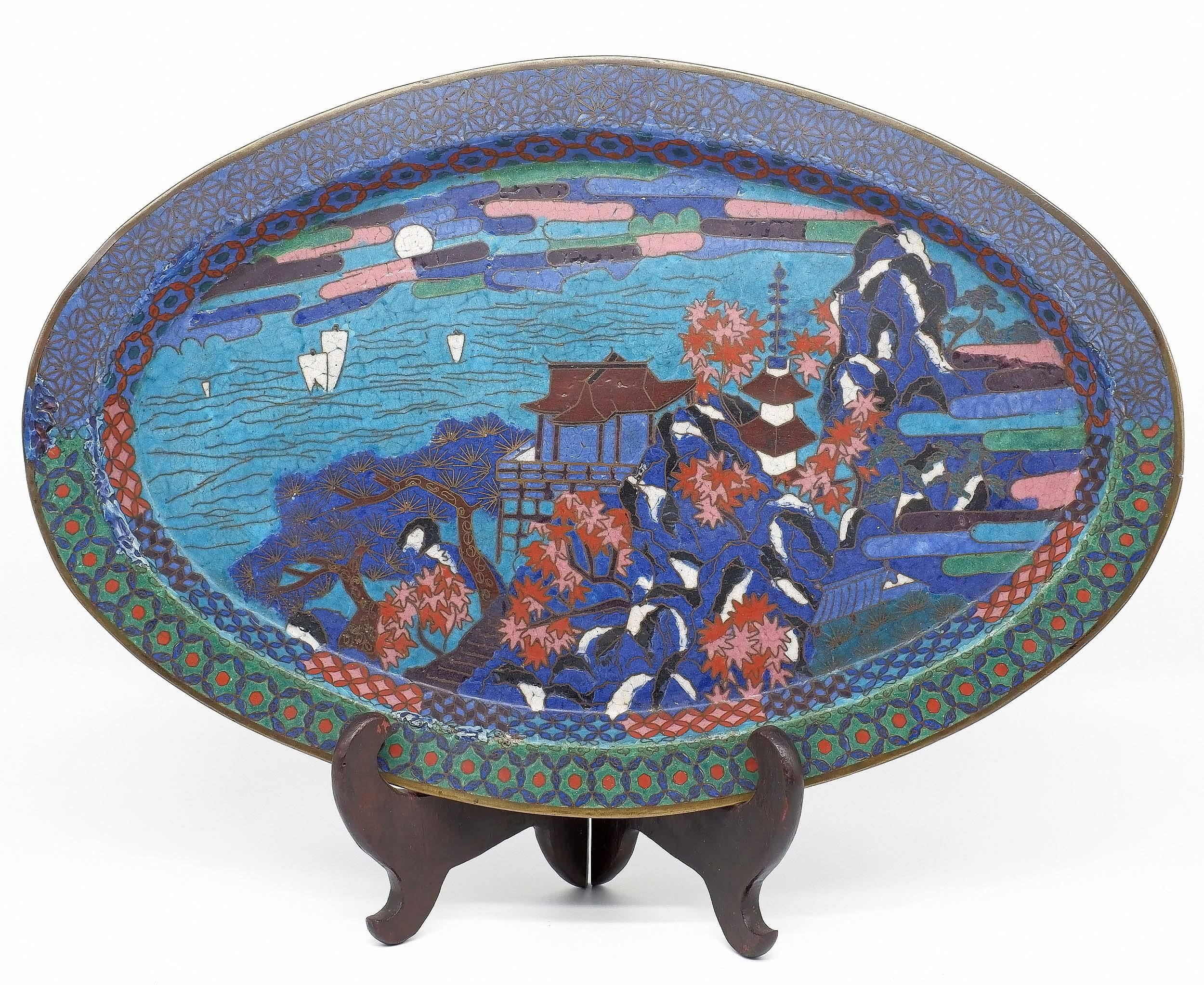 'Japanese Early Meiji Period Cloisonne Tray Circa 1880'