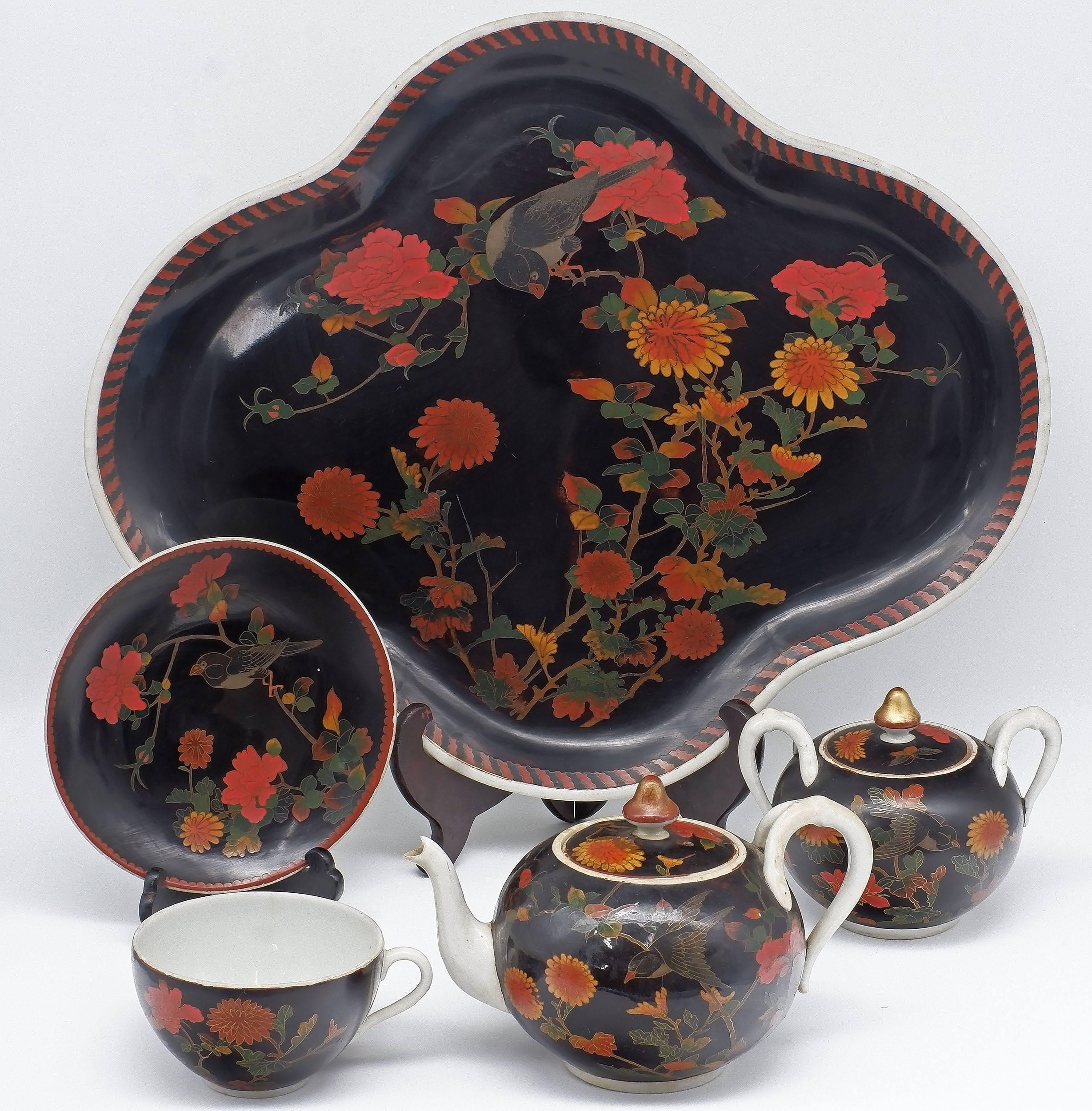 'Rare Japanese Cloisonne Enamel on Porcelain Bachelors Tea Set, Seto Ware, Meiji Period 1868-1912'
