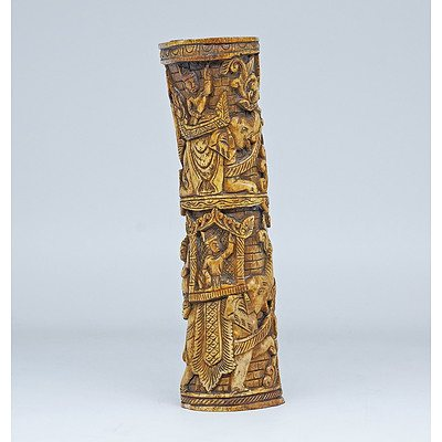 Burmese Bone Effigy Carved in Relief with Royal Procession, 19th Century