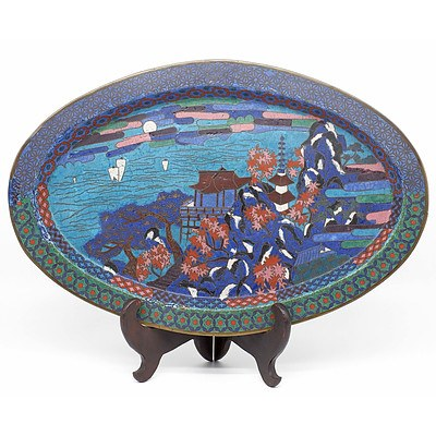 Japanese Early Meiji Period Cloisonne Tray Circa 1880