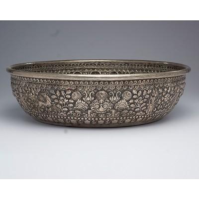Large Early Balinese Silvered Brass Offering Bowl Heavily Repousse Decorated with Animist Icons