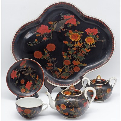 Rare Japanese Cloisonne Enamel on Porcelain Bachelor's Tea Set, Seto Ware, Meiji Period 1868-1912