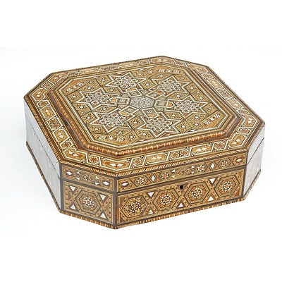 Superb Syrian Sadeli Work Marquetry Inlaid Octagonal Box