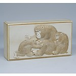 Superb Japanese Elephant Ivory Box Finely Relief Carved with Monkeys, Meiji Period 1868-1912