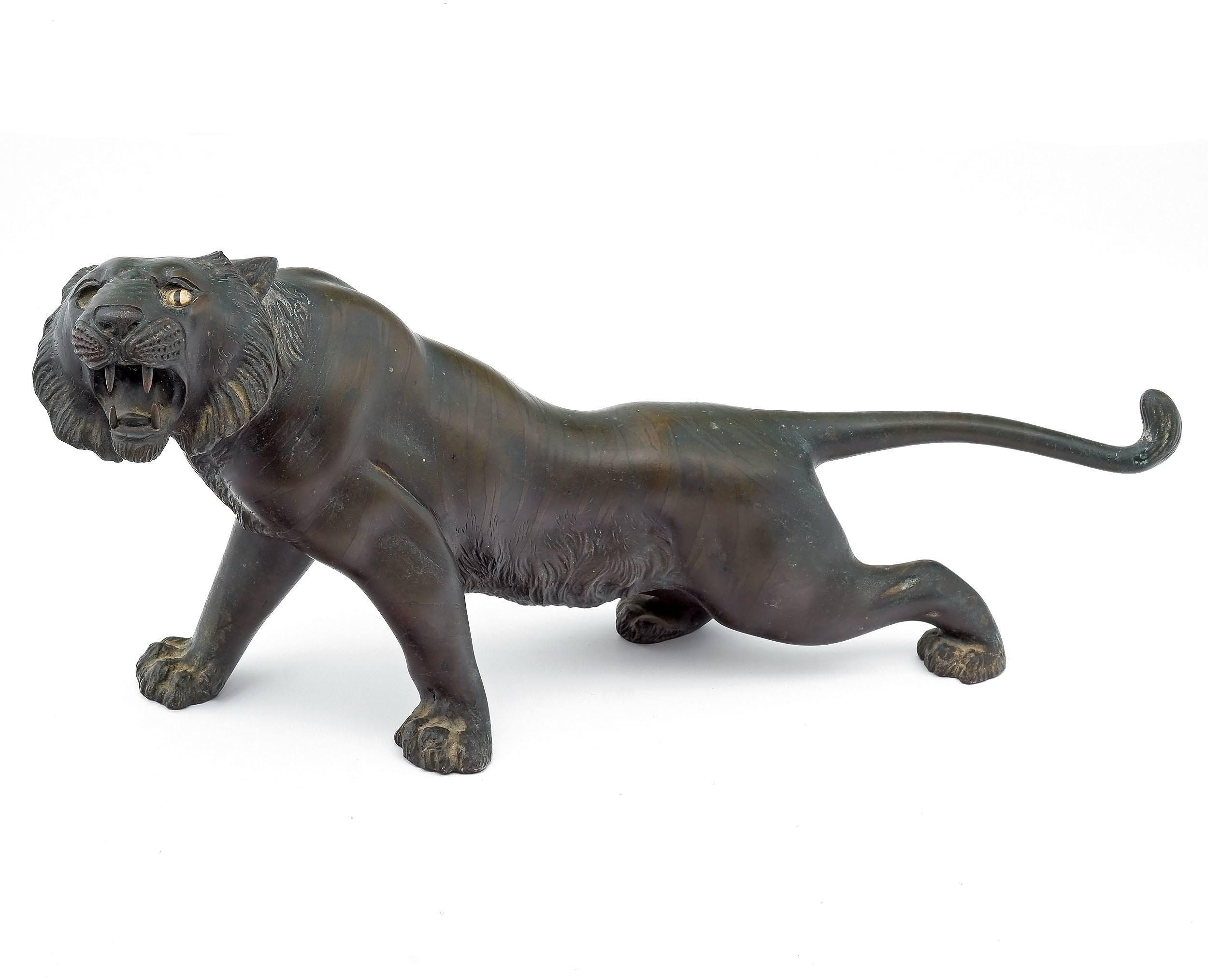 'Japanese Bronze Model of a Stalking Tiger, Meiji Period 1868-1912'