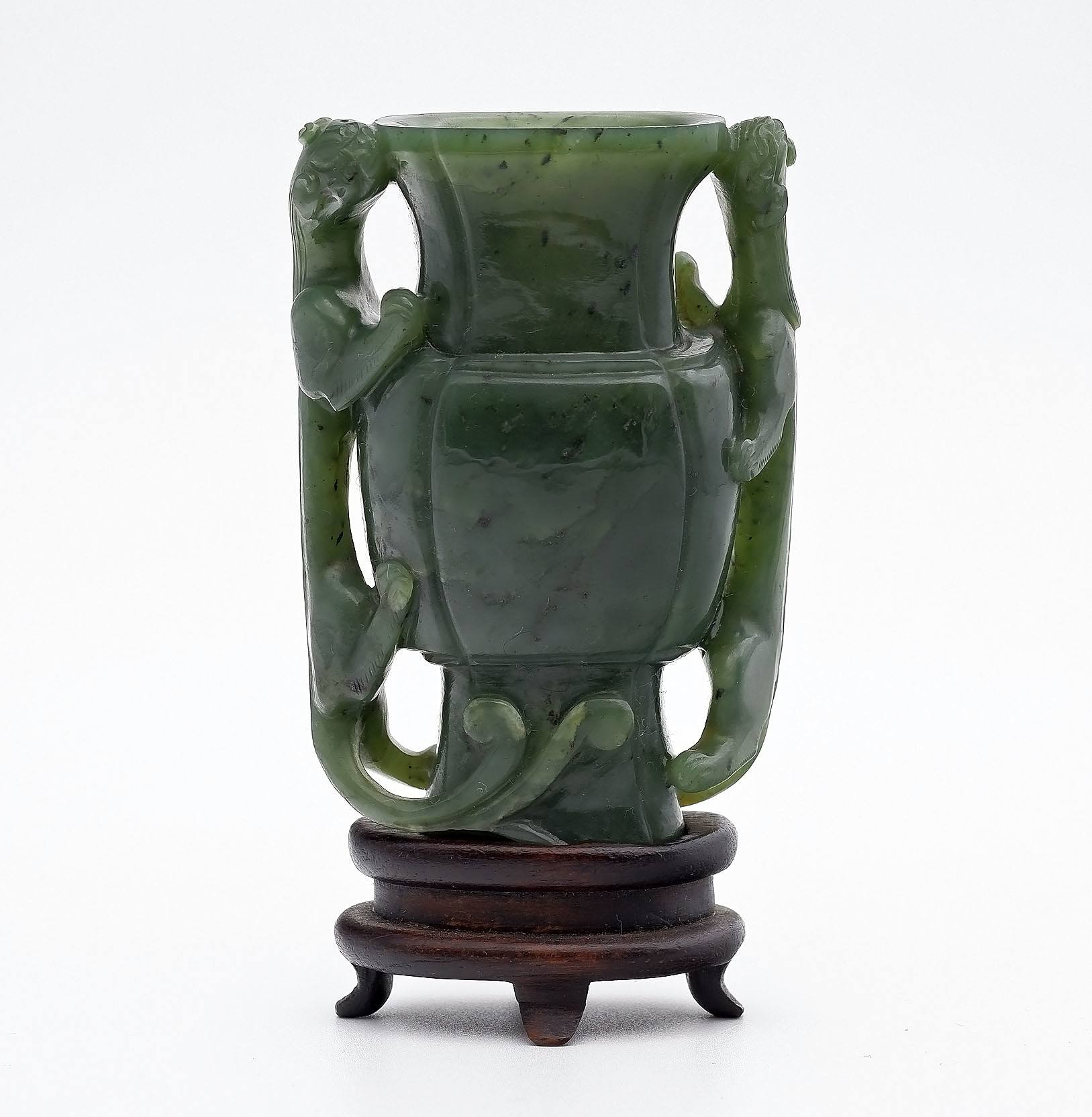 'Fine Chinese Spinach Green Jade Miniature Vase with Chilong Handles on Rosewood Stand, Late Qing Dynasty'