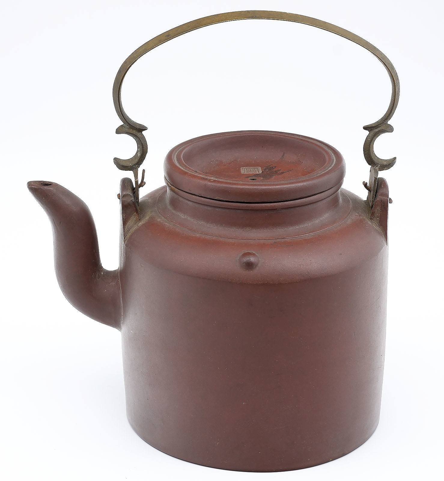 'Chinese Yixing Pottery Kettle Shape Large Teapot with Cast Brass Bail Handle'