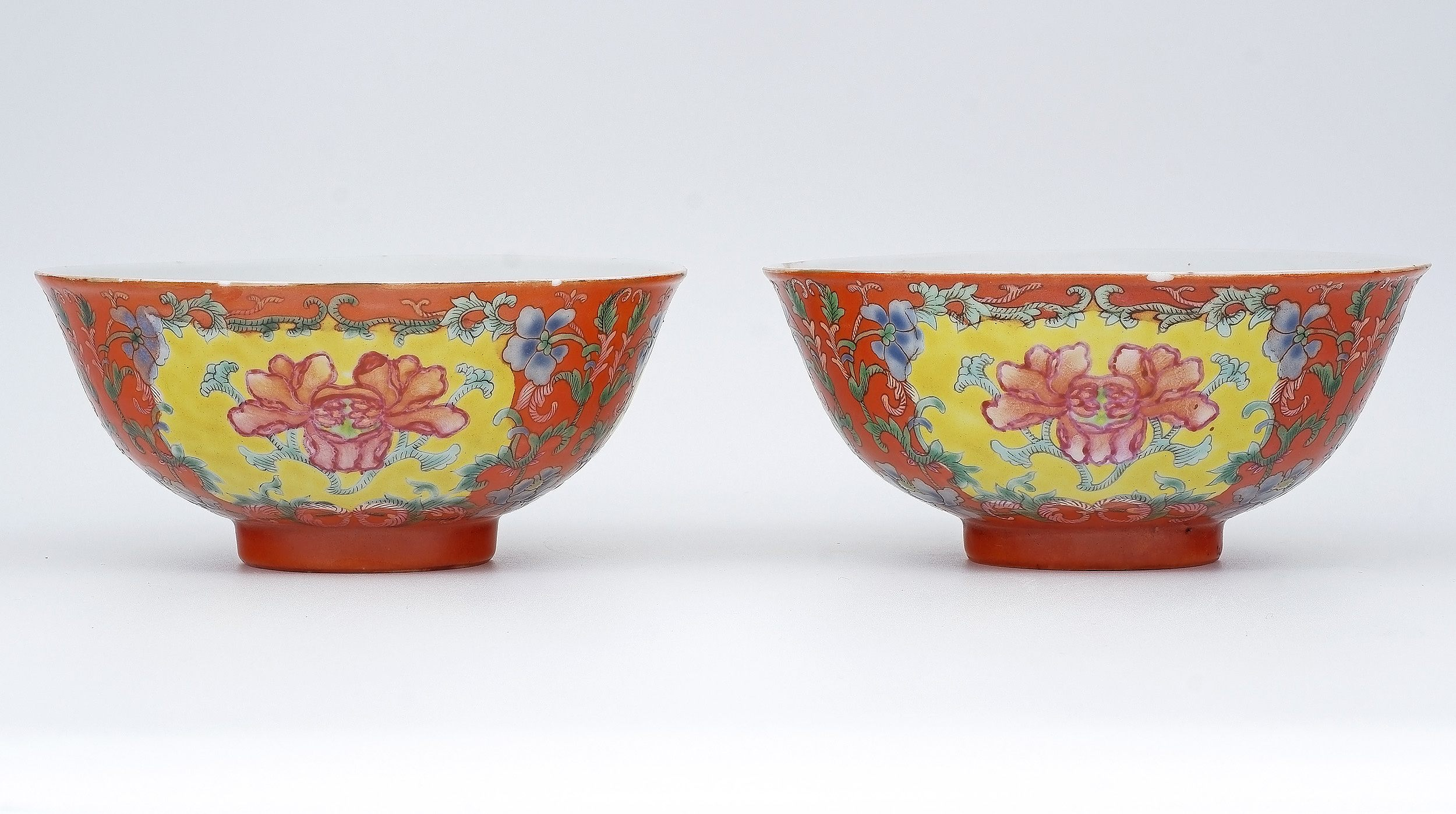 'Exceptional Pair of Chinese Coral Ground Peony Bowls, Qianlong Seal Mark, Qing Dynasty'