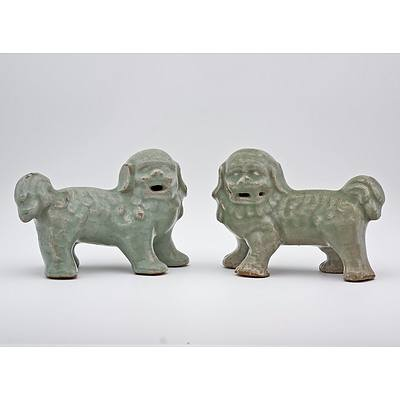 Rare Pair of Chinese Longquan Celadon Buddhist Lions, Ming Dynasty