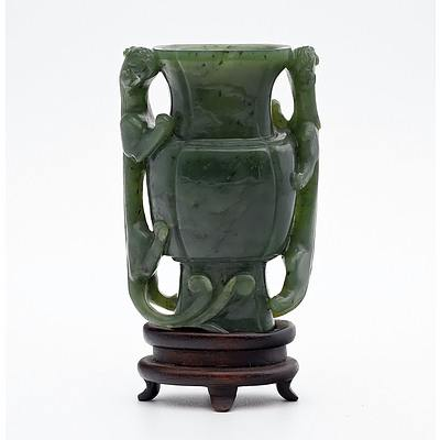 Fine Chinese Spinach Green Jade Miniature Vase with Chilong Handles on Rosewood Stand, Late Qing Dynasty