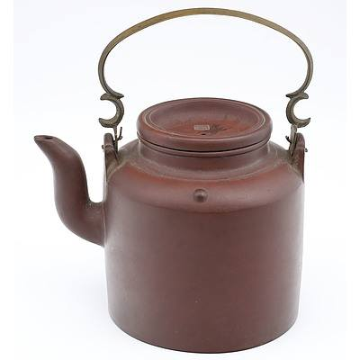 Chinese Yixing Pottery Kettle Shape Large Teapot with Cast Brass Bail Handle