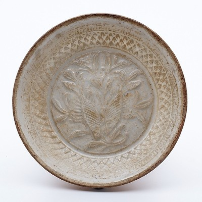 Chinese Qingbai Ware Moulded 'Twin Fish' Small Saucer Dish, Song Dynasty 960-1127