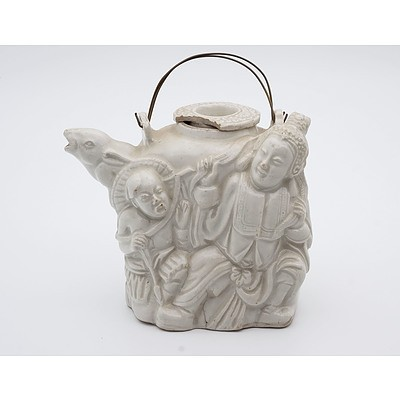 Chinese Blanc de Chine Figural Teapot, Qing Dynasty