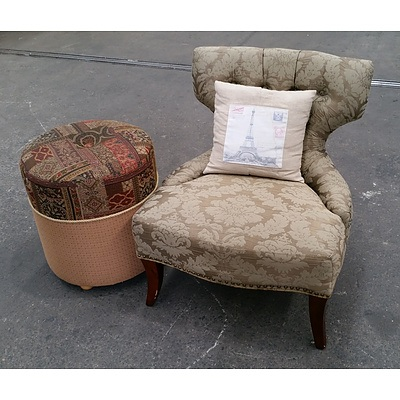 Vintage Style Side Chair & Ottoman