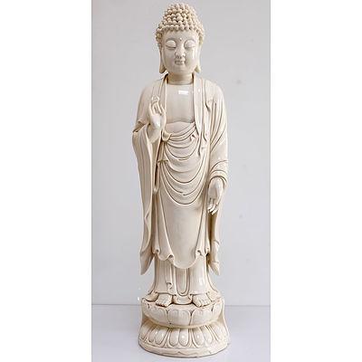 Large Chinese Dehua Blanc De Chine Figure of Buddha