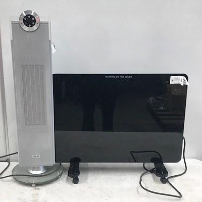 ADESSO Black Digital Glass Panel Heater & Arlec CEH518 Ceramic Oscillating Fan Heater