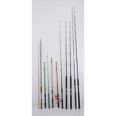 A Quantity of Ten Modern Fishing Rods Including Shimano