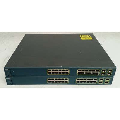Cisco Catalyst 3560G Series 24-Port Gigabit Managed Switch - Lot of Two